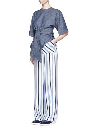 Figure View - Click To Enlarge - MSGM - Multi stripe silk wide leg pants