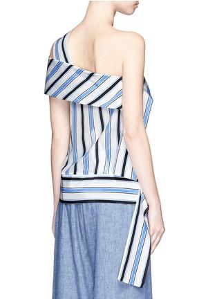 Back View - Click To Enlarge - MSGM - Asymmetric sash stripe silk one-shoulder top