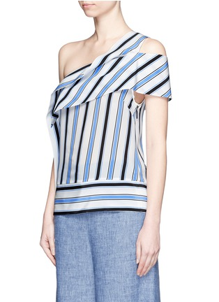 Front View - Click To Enlarge - MSGM - Asymmetric sash stripe silk one-shoulder top