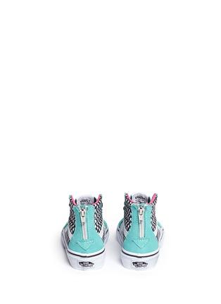 Back View - Click To Enlarge - Vans - 'SK8-Hi Zip' star print canvas suede kids sneakers