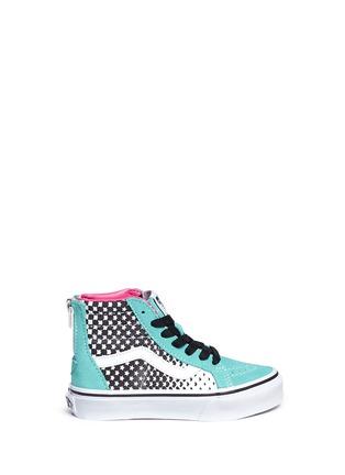 Main View - Click To Enlarge - Vans - 'SK8-Hi Zip' star print canvas suede kids sneakers
