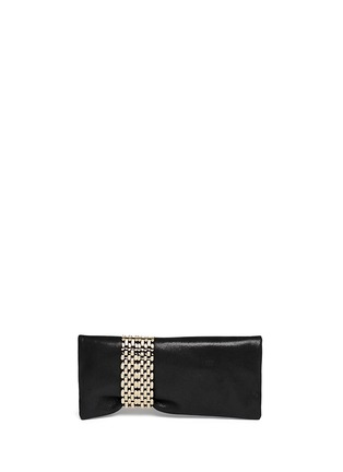 Back View - Click To Enlarge - Jimmy Choo - 'Chandra' chain clasp glitter suede clutch