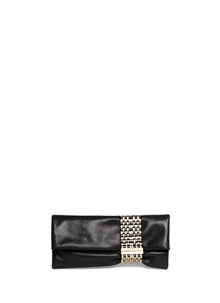 Main View - Click To Enlarge - Jimmy Choo - 'Chandra' chain clasp glitter suede clutch