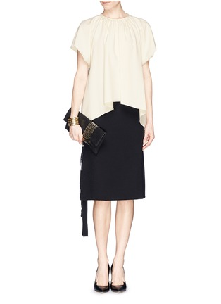 Figure View - Click To Enlarge - Jimmy Choo - 'Chandra' chain clasp glitter suede clutch