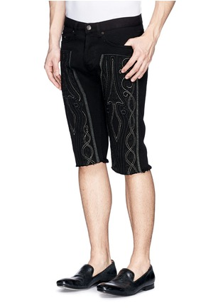Front View - Click To Enlarge - Dries Van Noten - 'Pender' embroidered denim shorts