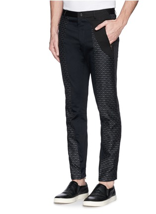 Front View - Click To Enlarge - Dries Van Noten - 'Palmer' jacquard quilted leg cropped pants