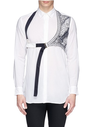 Main View - Click To Enlarge - Dries Van Noten - 'Cooper' embroidery harness cotton shirt