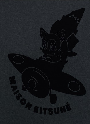 Detail View - Click To Enlarge - Maison Kitsuné - 'Airman' flocked velvet patch T-shirt