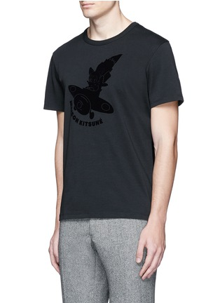 Front View - Click To Enlarge - Maison Kitsuné - 'Airman' flocked velvet patch T-shirt