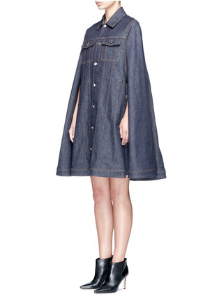 Front View - Click To Enlarge - Givenchy - Denim button military cape coat