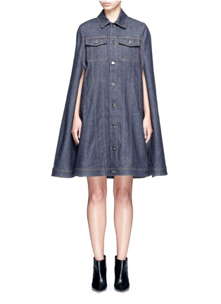 Main View - Click To Enlarge - Givenchy - Denim button military cape coat
