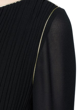 Detail View - Click To Enlarge - SAINT LAURENT - Metallic rope belt crepe dress