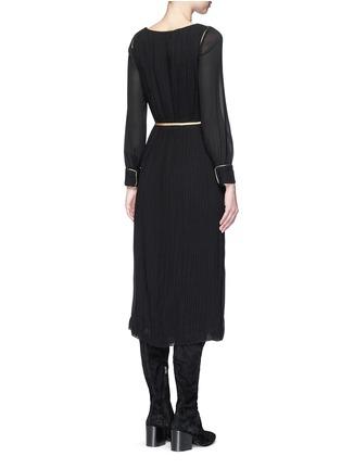 Back View - Click To Enlarge - SAINT LAURENT - Metallic rope belt crepe dress
