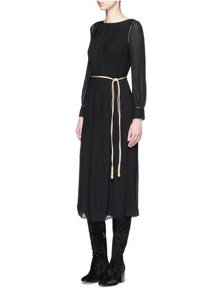 Figure View - Click To Enlarge - SAINT LAURENT - Metallic rope belt crepe dress