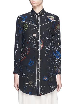 Main View - Click To Enlarge - Valentino - Cosmos print silk pyjama shirt