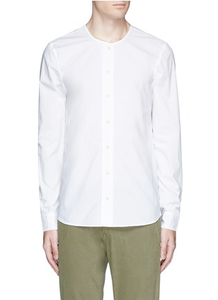 Main View - Click To Enlarge - DENHAM - 'Zeband' collarless cotton shirt