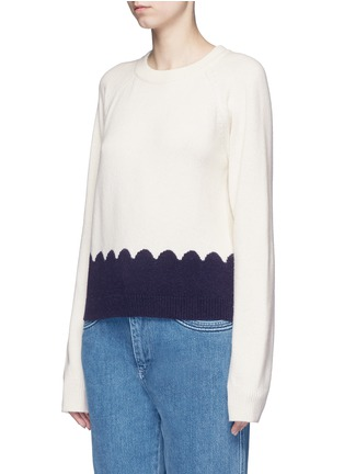Front View - Click To Enlarge - Chloé - Scalloped contrast wool-cashmere sweater