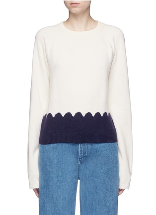 Main View - Click To Enlarge - Chloé - Scalloped contrast wool-cashmere sweater