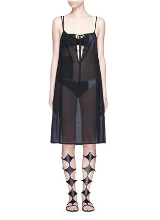 Main View - Click To Enlarge - Araks - 'Joseh' ruche neck cover-up dress