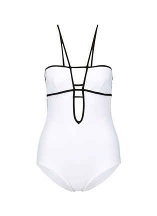 Main View - Click To Enlarge - Araks - 'Harlow' keyhole back grid plunge swimsuit