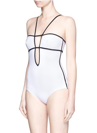 Figure View - Click To Enlarge - Araks - 'Harlow' keyhole back grid plunge swimsuit
