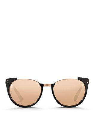Main View - Click To Enlarge - Linda Farrow - 'Upside Down Browline' titanium rim acetate mirror sunglasses