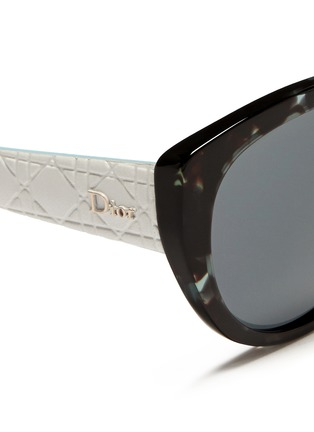 Detail View - Click To Enlarge - DIOR - 'Lady 1R' rubber and leather temple cat eye sunglasses
