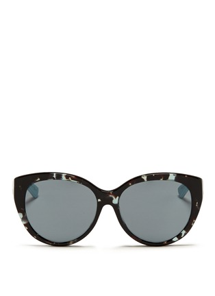 Main View - Click To Enlarge - DIOR - 'Lady 1R' rubber and leather temple cat eye sunglasses