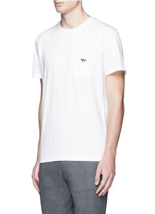 Front View - Click To Enlarge - Maison Kitsuné - Fox embroidery cotton T-shirt