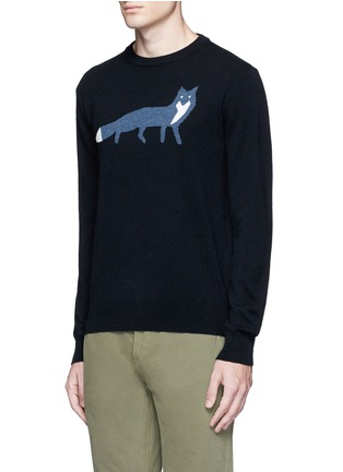 Front View - Click To Enlarge - MAISON KITSUNÉ - Fox intarsia wool sweater