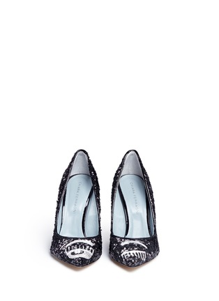 Front View - Click To Enlarge - Chiara Ferragni - 'Flirting' eye wink sequin pumps