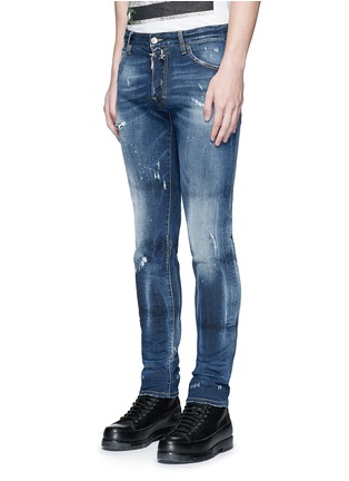 Front View - Click To Enlarge - Dsquared2 - 'Cool Guy' distressed slim fit jeans