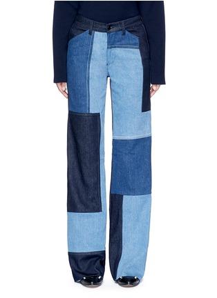 Detail View - Click To Enlarge - VICTORIA, VICTORIA BECKHAM - Patchwork wide leg jeans