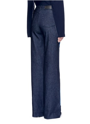 Back View - Click To Enlarge - VICTORIA, VICTORIA BECKHAM - Patchwork wide leg jeans