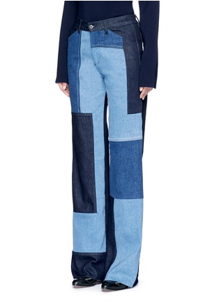 Front View - Click To Enlarge - VICTORIA, VICTORIA BECKHAM - Patchwork wide leg jeans