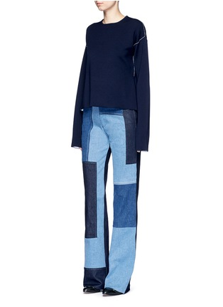 Figure View - Click To Enlarge - VICTORIA, VICTORIA BECKHAM - Patchwork wide leg jeans