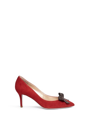 Main View - Click To Enlarge - René Caovilla - x BLITZ 'Decollete' strass pavé bow suede pumps
