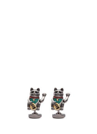 Main View - Click To Enlarge - Tateossian - Fortune cat Swarovski crystal cufflinks
