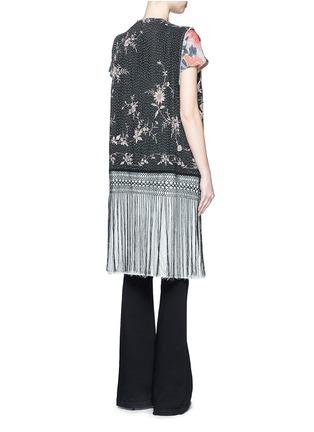 Back View - Click To Enlarge - By Walid - 'Fringe Gilet' one of a kind rose brocade vest
