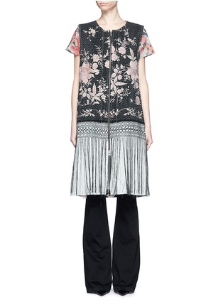Main View - Click To Enlarge - By Walid - 'Fringe Gilet' one of a kind rose brocade vest