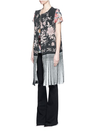 Figure View - Click To Enlarge - By Walid - 'Fringe Gilet' one of a kind rose brocade vest