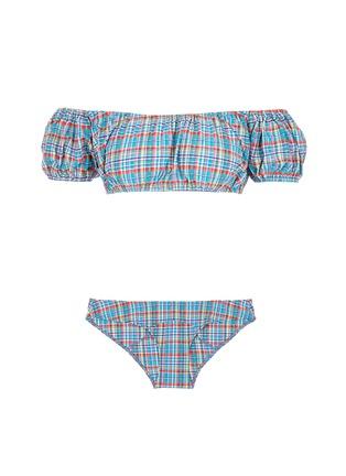 Main View - Click To Enlarge - Lisa Marie Fernandez - 'Leandra' plaid off-shoulder seersucker bubble bikini set