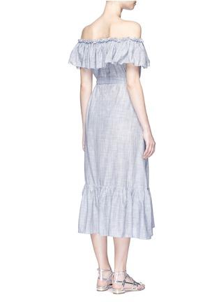 Back View - Click To Enlarge - Lisa Marie Fernandez - 'Mira' button down off-shoulder flounce dress