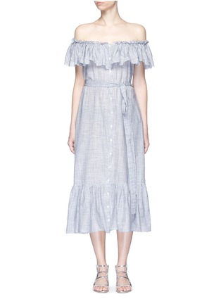 Main View - Click To Enlarge - Lisa Marie Fernandez - 'Mira' button down off-shoulder flounce dress