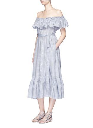 Figure View - Click To Enlarge - Lisa Marie Fernandez - 'Mira' button down off-shoulder flounce dress
