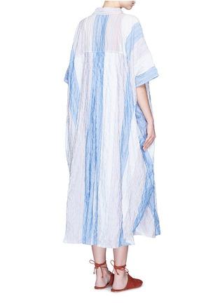 Back View - Click To Enlarge - Lisa Marie Fernandez - Stripe crinkle maxi shirt kaftan