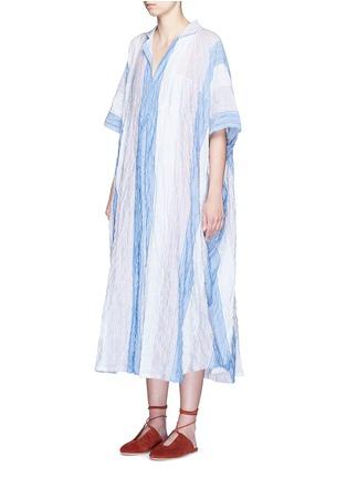Front View - Click To Enlarge - Lisa Marie Fernandez - Stripe crinkle maxi shirt kaftan