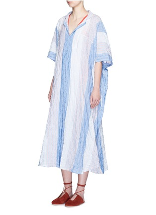 Figure View - Click To Enlarge - Lisa Marie Fernandez - Stripe crinkle maxi shirt kaftan