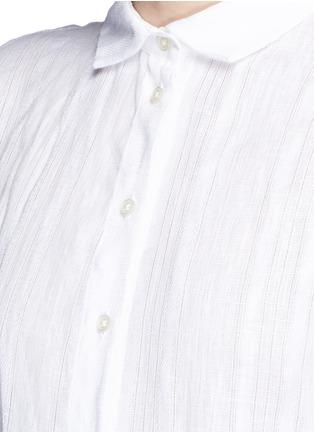 Detail View - Click To Enlarge - Lisa Marie Fernandez - Stripe cotton-linen voile midi shirt dress