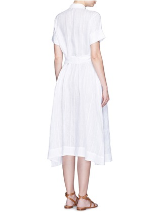 Back View - Click To Enlarge - Lisa Marie Fernandez - Stripe cotton-linen voile midi shirt dress
